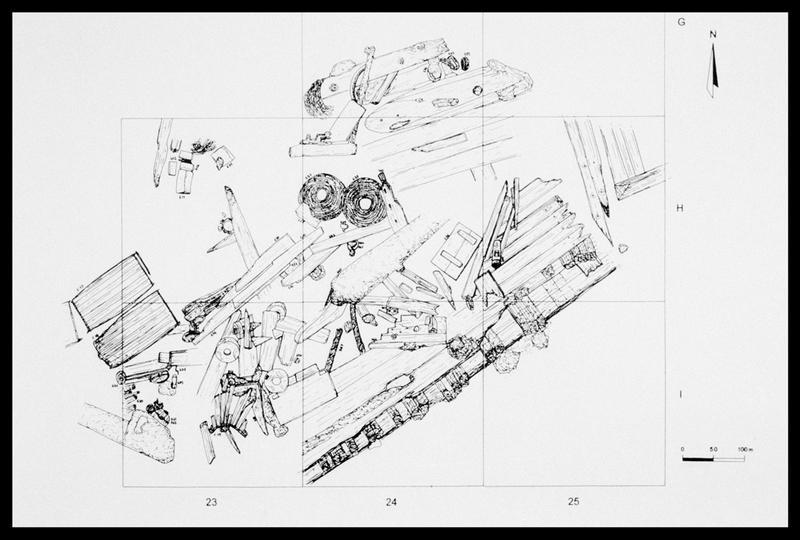 Vue du plan de la carène de la Natière 1 (fouille M. L'Hour/Drassm, E. Veyrat/Drassm).