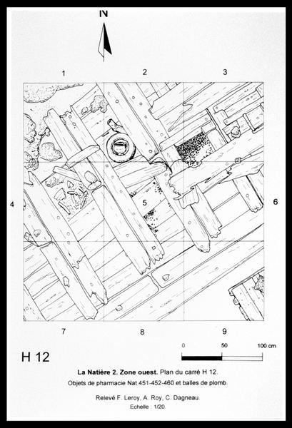 Vue de détail du plan de la carène de la Natière 2 (fouille M. L'Hour/Drassm, E. Veyrat/Drassm).