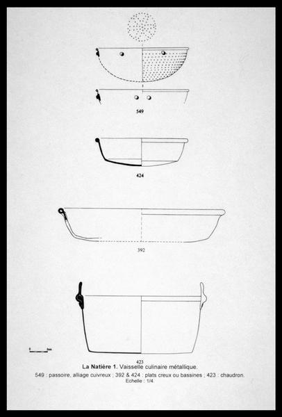 Vue du dessin de la vaisselle métallique découverte (fouille M. L'Hour/Drassm, E. Veyrat/Drassm).