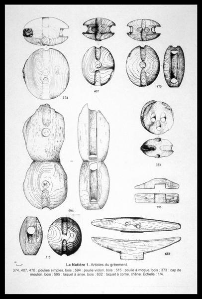 Vue du dessin des pièces d'accastillage et de gréement de bois (fouille M. L'Hour/Drassm, E. Veyrat/Drassm).