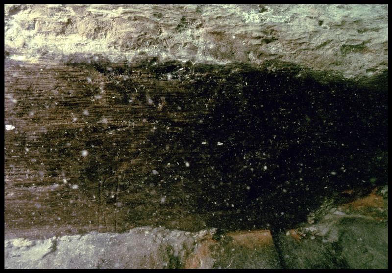 Vue sous-marine de détail d'un marque sur un bois de la carène (fouille M. L'Hour/Drassm, E. Veyrat/Drassm).