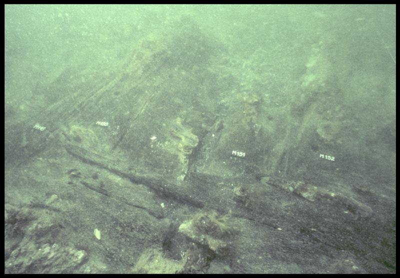 Vue sous-marine de détail des membrures 149 à 152 (fouille M. L'Hour/Drassm, E. Veyrat/Drassm).