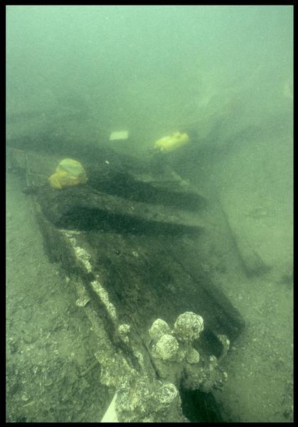 Vue sous-marine d'un plongeur sur la carène (fouille M. L'Hour/Drassm, E. Veyrat/Drassm).