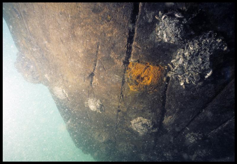 Vue sous-marine de détail du brochage de la carène (fouille M. L'Hour/Drassm, E. Veyrat/Drassm).