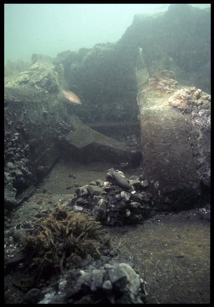 Vue sous-marine d'un taquet à corne in situ(fouille M. L'Hour/Drassm, E. Veyrat/Drassm).