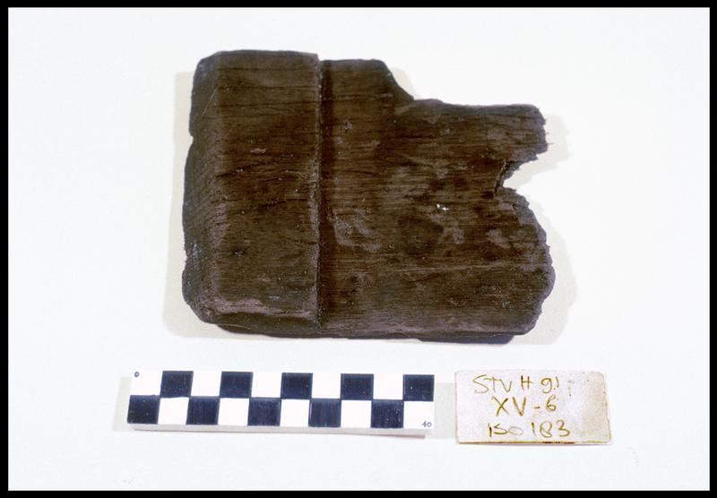 Vue d'un fragment de bois (fouille M. L'Hour/Drassm, E. Veyrat/Drassm).