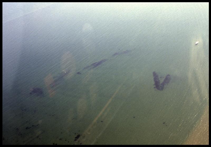 Vue aérienne du site (fouille M. L'Hour/Drassm, E. Veyrat/Drassm).