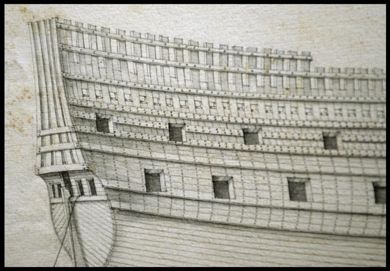 Vue du dessin d'un château arrière d'un navire de l'Album Colbert.