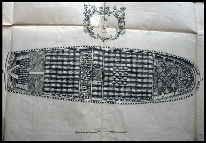 Vue de dessus du dessin du remplissage de la cale d'un navire de l'Album Colbert.
