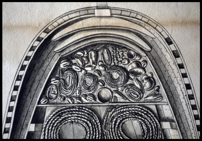 Vue de détail du dessus du dessin du remplissage de la cale avant d'un navire de l'Album Colbert.