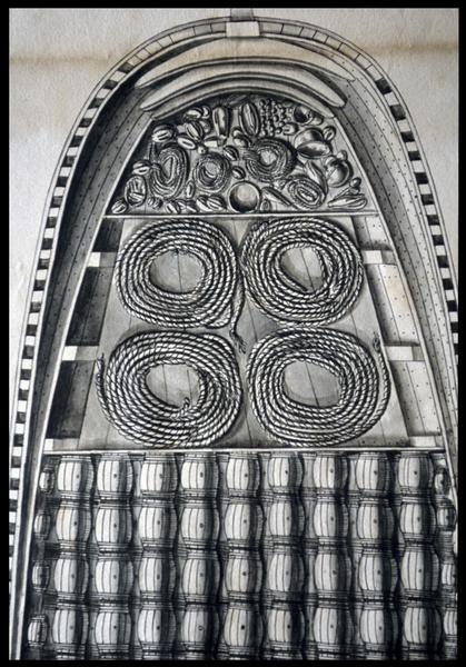Vue de détail du dessus du dessin du remplissage de la cale d'un navire de l'Album Colbert.