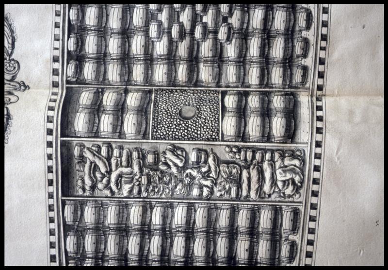 Vue de détail de dessus du dessin du remplissage de la cale d'un navire de l'Album Colbert.