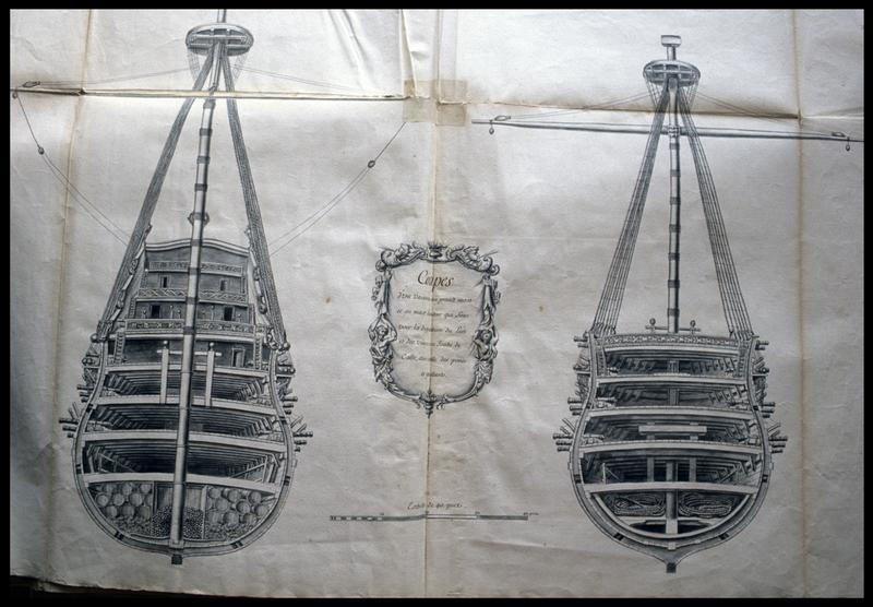 Vue de détail du dessin de la coupe transversale avant et arrière d'un navire de l'Album Colbert.