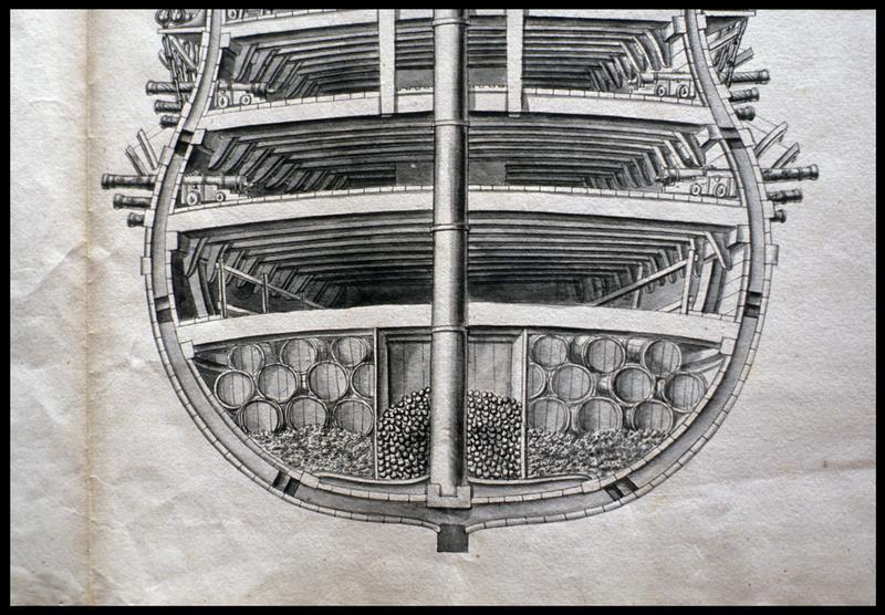Vue de détail du dessin de la coupe transversale avant d'un navire de l'Album Colbert.