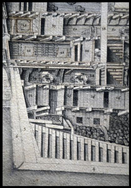Vue de détail du dessin de la coupe longitudinale arrière d'un navire de l'Album Colbert.