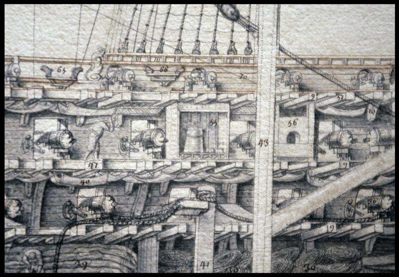 Vue de détail du dessin de la coupe longitudinale d'un navire de l'Album Colbert.