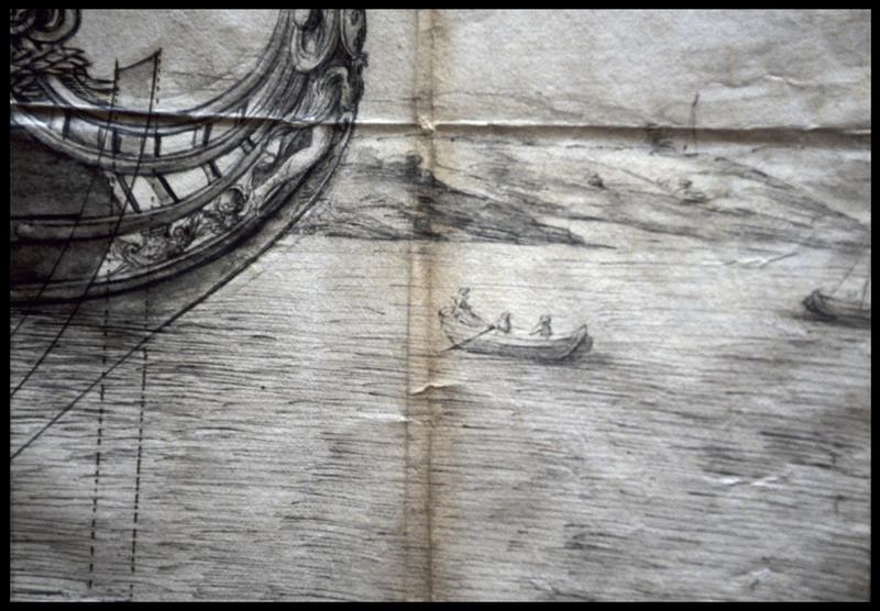 Vue de détail du dessin de la proue d'un navire et d'une embarcation annexe de l'Album Colbert.