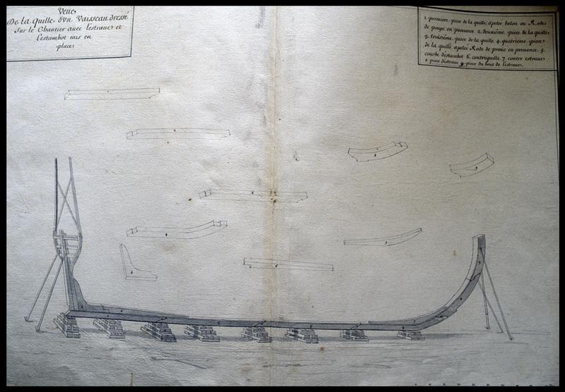 Vue du dessin de la quille de la carène d'un navire de l'Album Colbert.