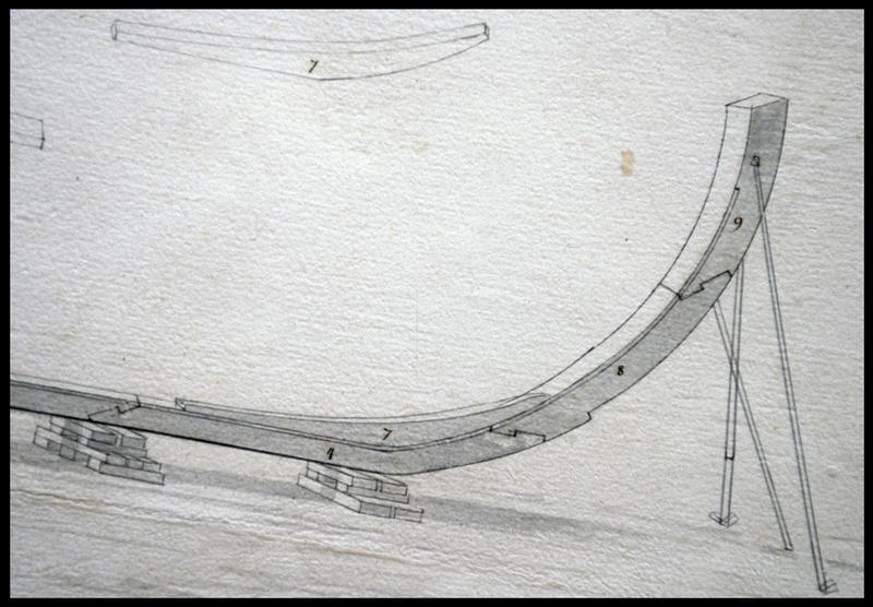 Vue de détail du dessin de la quille de la carène d'un navire de l'Album Colbert.
