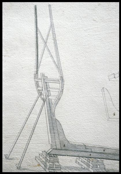 Vue de détail du dessin de la quille et château arrière de la carène d'un navire de l'Album Colbert.