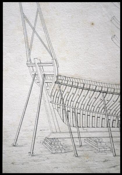 Vue de détail du dessin de la quille, membrures et château arrière de la carène d'un navire de l'Album Colbert.