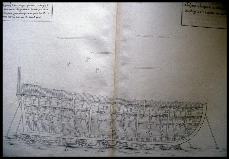 Vue du dessin de la coupe longitudinale de la carène d'un navire de l'Album Colbert.