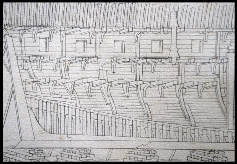 Vue de détail du dessin de la coupe longitudinale de la carène d'un navire de l'Album Colbert.
