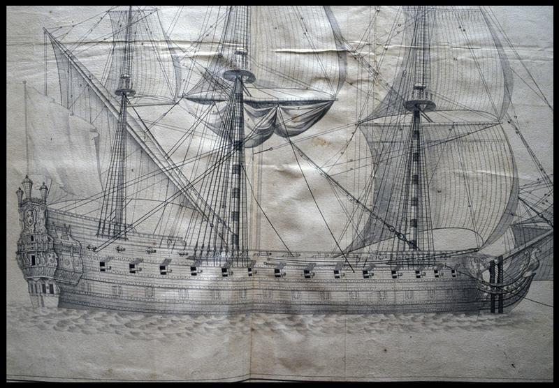 Vue de détail du dessin d'un navire armé de profil d'un navire de l'Album Colbert..