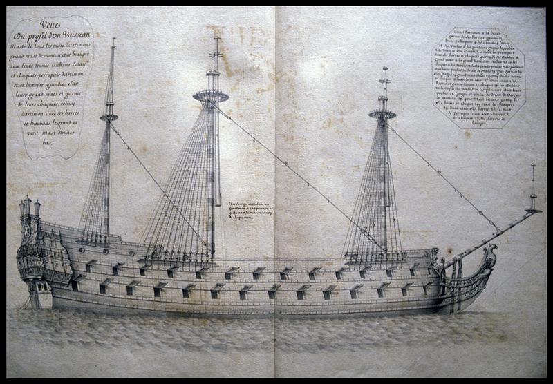 Vue du dessin d'un navire armé de profil d'un navire de l'Album Colbert..