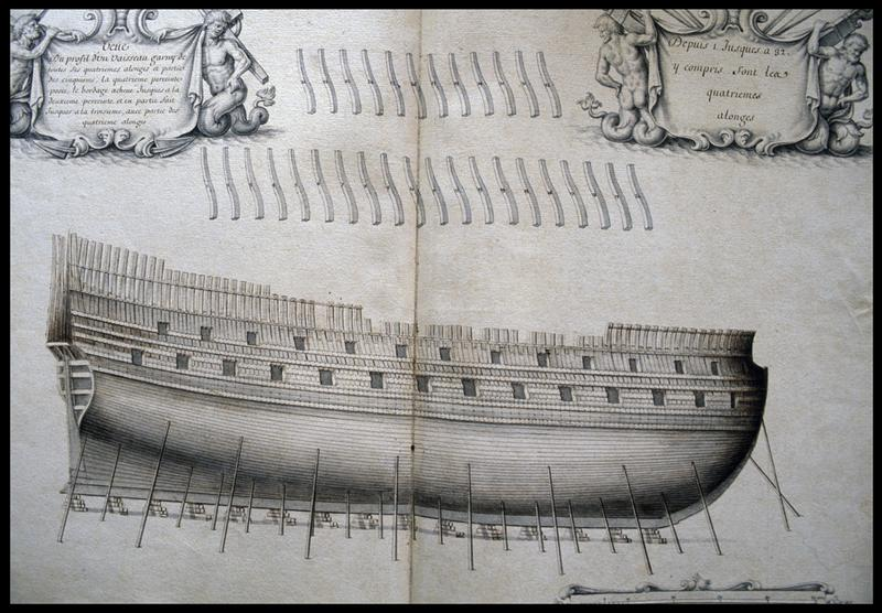 Vue du dessin de profil de la carène d'un navire et de ses allonges d'un navire de l'Album Colbert..