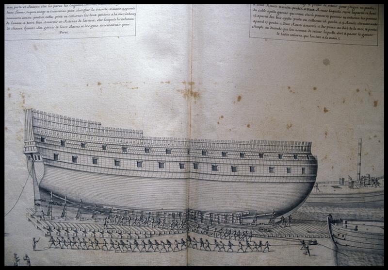 Vue du dessin de la mise à l'eau d'une carène d'un navire de l'Album Colbert..