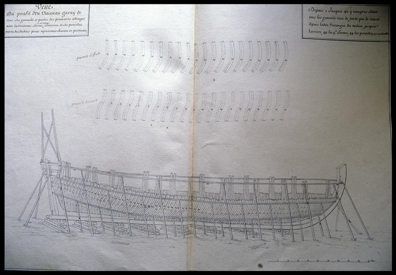 Vue du dessin du profil d'une carène d'un navire et de ses allonges d'un navire de l'Album Colbert..