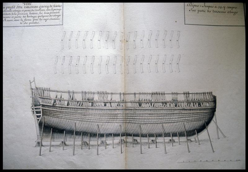 Vue de détail du dessin de la carène d'un navire de l'Album Colbert.
