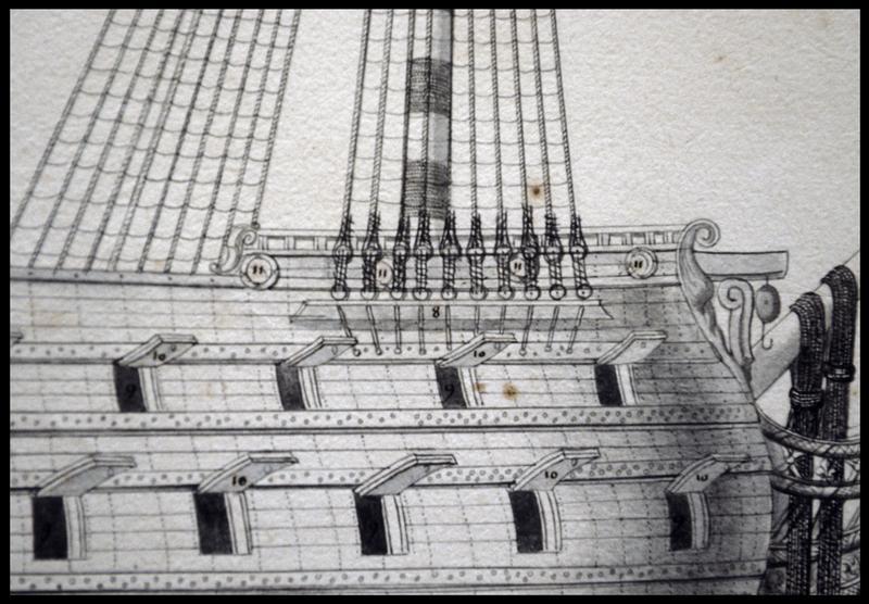 Vue de détail du dessin d'un navire de l'Album Colbert.