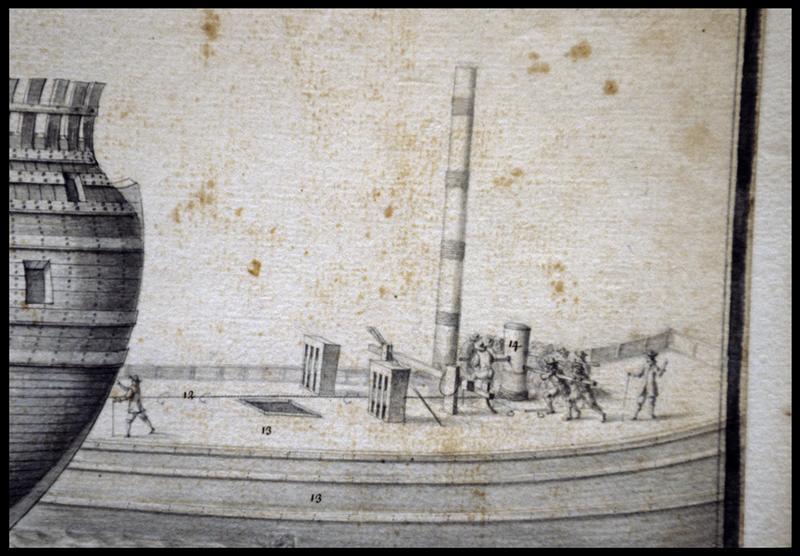 Vue de détail du dessin d'un bateau de servitude de l'Album Colbert.