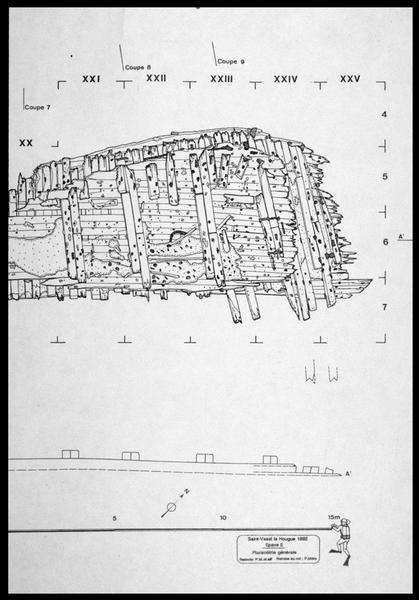 Vue de détail du dessin de la carène de l'épave (fouille M. L'Hour/Drassm, E. Veyrat/Drassm).