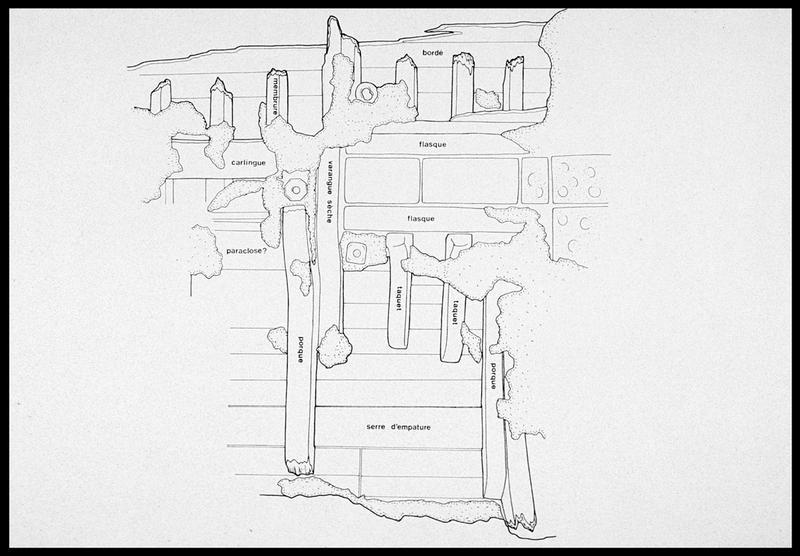 Vue du dessin de détail de la carène (fouille M. L'Hour/Drassm, E. Veyrat/Drassm).