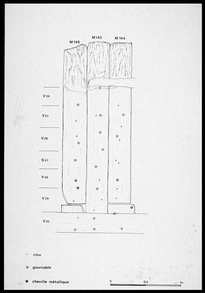 Vue du dessin du chevillage et cloutage des membrures 144 à 146 (fouille M. L'Hour/Drassm, E. Veyrat/Drassm).