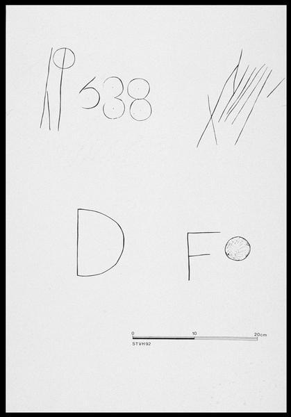 Vue du relevé des marques de charpentier (fouille M. L'Hour/Drassm, E. Veyrat/Drassm).