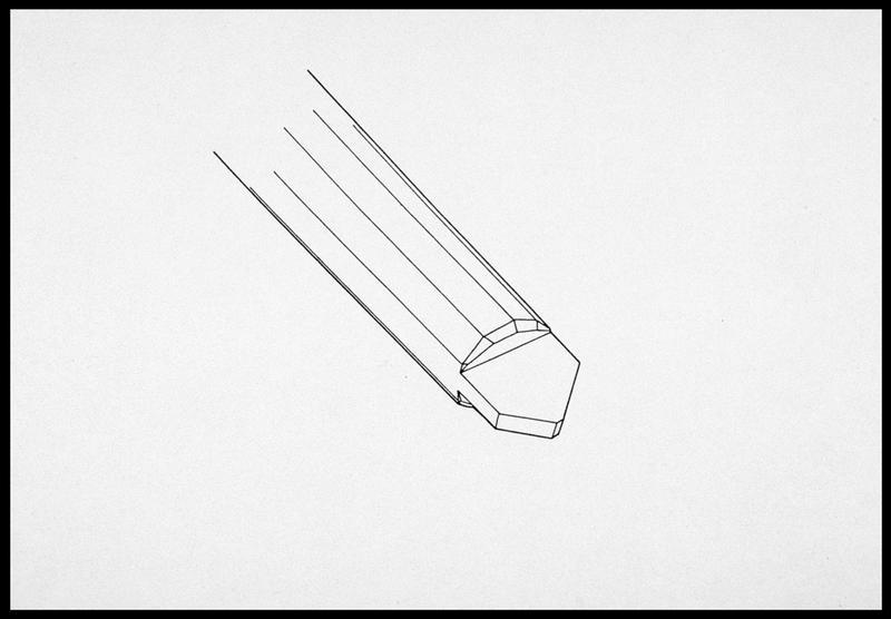 Vue du dessin d'une tête de gournable en flèche du bordé (fouille M. L'Hour/Drassm, E. Veyrat/Drassm).