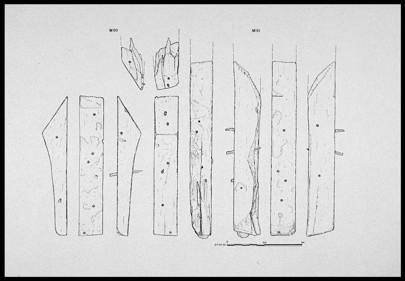 Vue de détail des membrures M90 et 91 (fouille M. L'Hour/Drassm, E. Veyrat/Drassm).