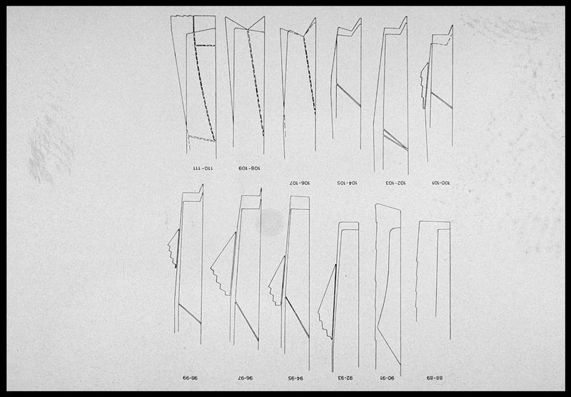 Vue du dessin de membrures M88 à 111 (fouille M. L'Hour/Drassm, E. Veyrat/Drassm).