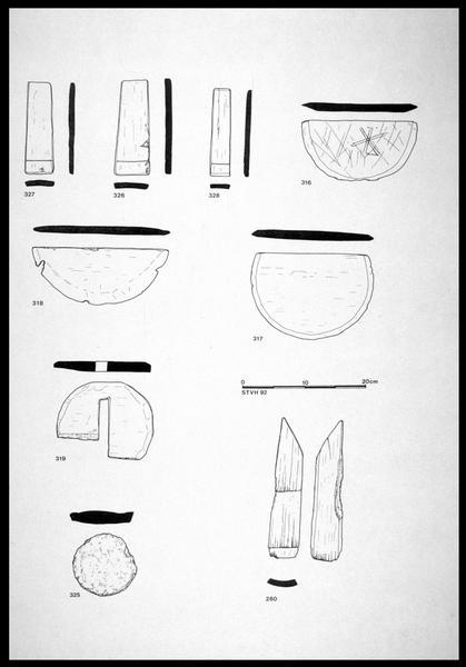 Vue du dessin de neuf éléments de bois d'un seau (fouille M. L'Hour/Drassm, E. Veyrat/Drassm).