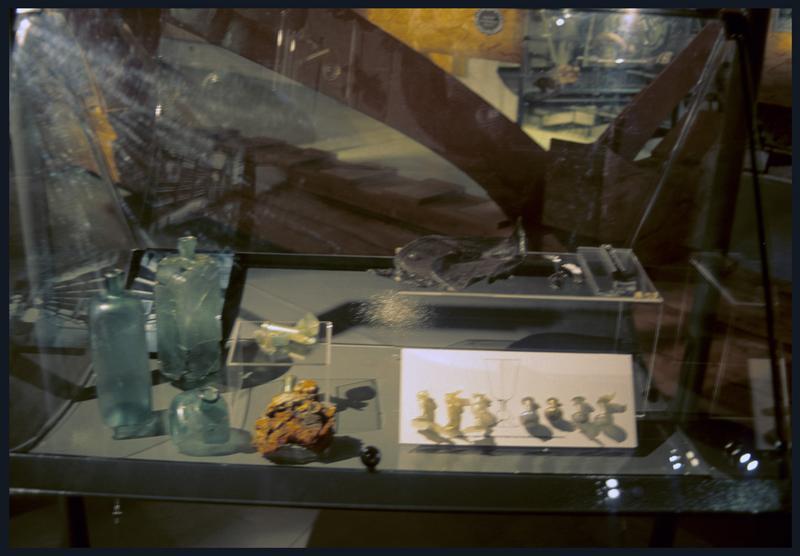 Vue de la vitrine des éléments de verre.
