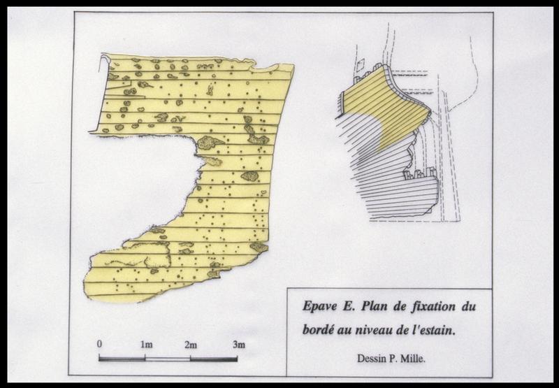 Vue du plan et de la restitution sur la carène du bordé au niveau de l'estain (fouille M. L'Hour/Drassm, E. Veyrat/Drassm).