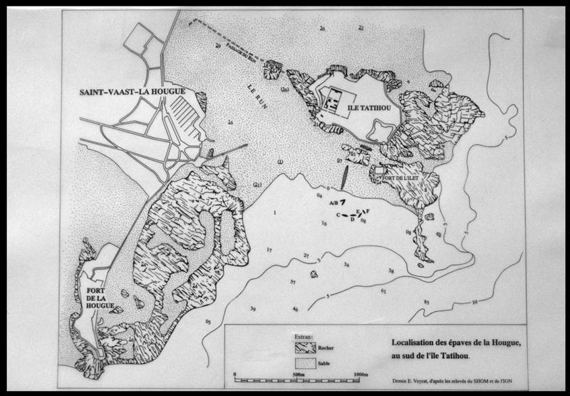 Vue de la locallisation des épaves sur une carte (fouille M. L'Hour/Drassm, E. Veyrat/Drassm).