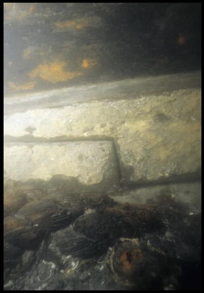Vue sous-marine de détail de la quille avec un fragment de cordage (fouille M. L'Hour/Drassm, E. Veyrat/Drassm).