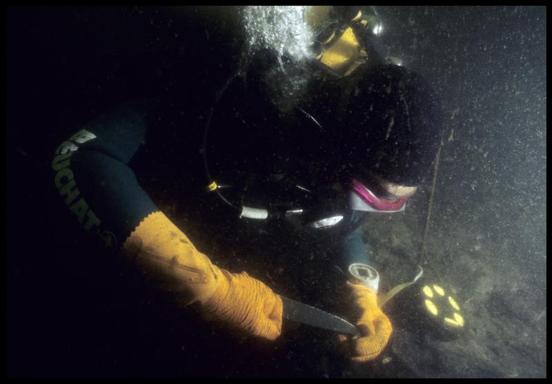 Vue sous-marine d'un plongeur effectuant une prélèvement (fouille M. L'Hour/Drassm, E. Veyrat/Drassm).
