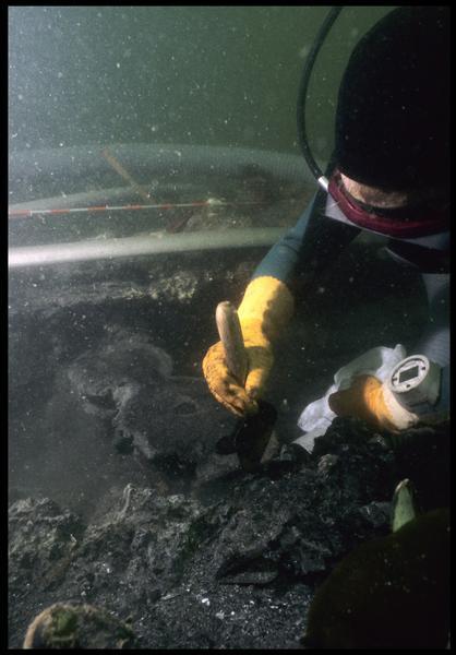 Vue sous-marine d'un plongeur dégageant une poulie violon en bois (fouille M. L'Hour/Drassm, E. Veyrat/Drassm).