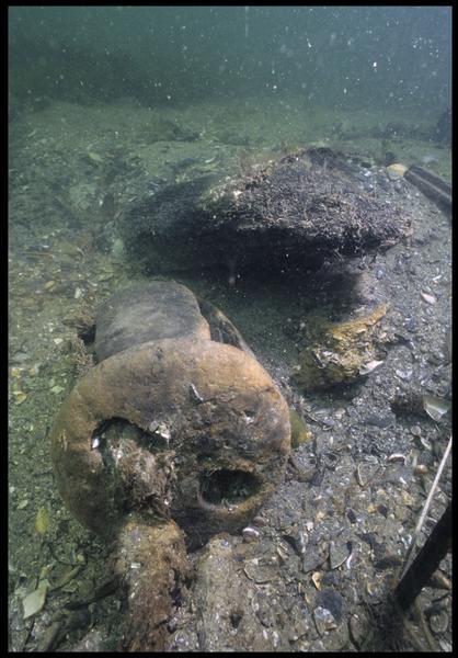 Vue sous-marine d'une poulie tête de noire de bois in situ (fouille M. L'Hour/Drassm, E. Veyrat/Drassm).
